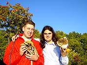 Cellist Mark Fridman and trumpetist Mikhail Basov collecting mushrooms nearby Okhotsk